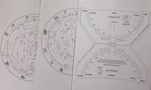 Pola planisphere yang terdiri dari 2 pola langit utara dan selatan dan 1 pola wadah. Kredit: langitselatan
