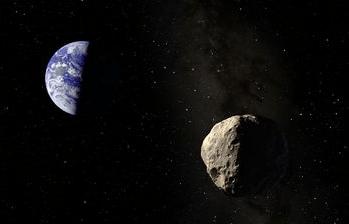 Gambar 1. Simulasi artis saat asteroid Apophis mendekati Bumi (latar belakang) pada Minggu 23 Maret 2036 kelak. Sumber : Space.com, 2013.