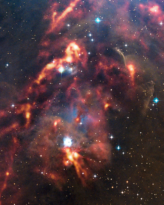 Awan debu kosmik di Orion. Kredit : ESO/APEX (MPIfR/ESO/OSO)/T. Stanke et al./Digitized Sky Survey 2