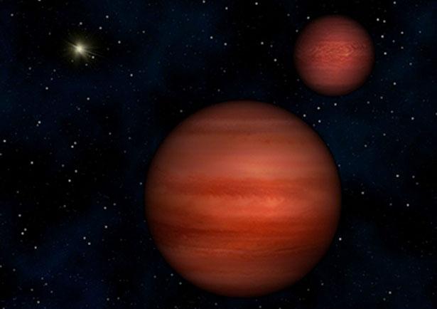 Ilustrasi sistem WISE-1049-5319 dengan Matahari di latar belakang. Kredit: Janella Williams, Penn State University