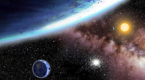 Ilustrasi sistem Kepler 62. Kredit: David A. Aguilar (CfA)