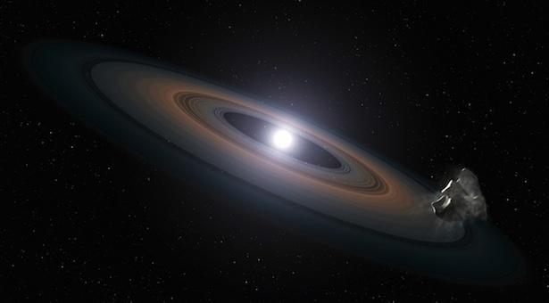 Serpihan di sekeliling bintang katai putih yang membentuk cincin. Kredit: ESA