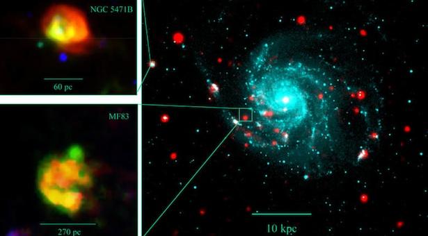 Jejak ledakan bintang yang jadi kandidat hipernova. Kredit: Y. Chu (UIUC) et al., POSS, ROSAT, MDM, HST / APOD