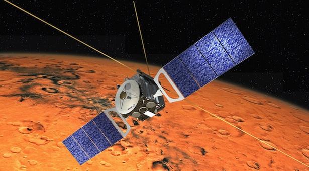 Ilustrasi yang menggambarkan Mars Express tengah mengintai Si Planet Merah, Mars. Kredit: ESA/ D. Ducros.