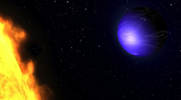 Ilustrasi planet biru HD 189733b. Kredit: NASA, ESA, and G. Bacon (AURA/STScI)