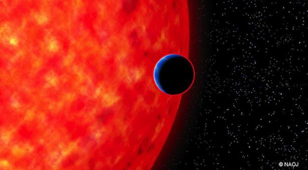 Ilustrasi Bumi-super GJ3470b, yang mengorbit sebuah bintang nun jauh di ruang angkasa. Ukuran planet dan bintang pada ilustrasi ini menunjukkan perbedaan ukuran yang sebenarnya antara kedua objek. Kredit: NAOJ.