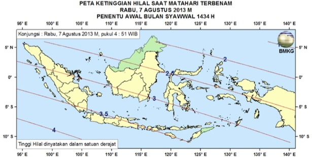 Gambar 1. Peta Ketinggian Hilal (pusat piringan Bulan) untuk pengamat di Indonesia. Kredit: BMKG