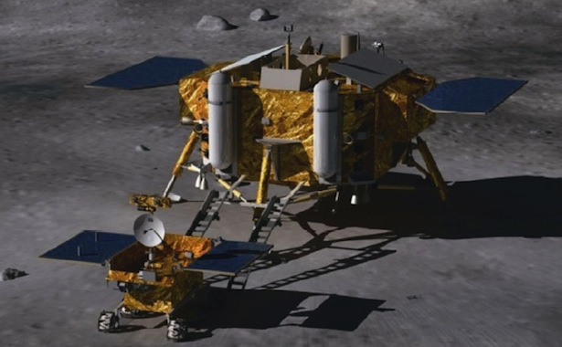 Ilustrasi Chang'e 3 dan rover Yutu.
