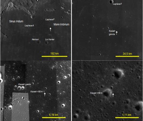 """Gambar 4. Sekuens titik lokasi pendaratan Chang'e 3 dalam beragam resolusi seperti diperlihatkan oleh peta QuickMap. Lokasi pendaratan ditandai dengan anak panah putih, nama kawasan dengan huruf tegak sementara nama kawah dengan huruf kecil miring. Nama-nama """"kawah ganda"""" dan """"kawah 450 m"""" merupakan istilah penulis dan bukan nama resmi. Panduan arah, atas = utara, kanan = timur. Sumber: Sudibyo, 2013 berdasarkan QuickMap."""