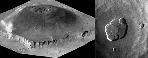 Gunung Olympus, gunung tertinggi dan terbesar di Tata Surya, menjulang setinggi 25 km dari dasarnya dan berdiameter 624 km (kiri). Di puncaknya terdapat kaldera (kanan). Kredit: NASA/JPL-Caltech.