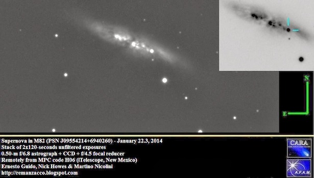 Supernova di M82 yang diamati oleh  Ernesto Guido, Nick Howes & Martino Nicolini. Kredit: http://remanzacco.blogspot.co.uk/