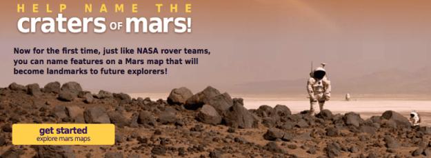 Kontes Penamaan Kawah Mars. Kredit: uwingu