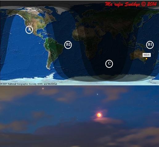Gambar 1. Atas: peta global wilayah Gerhana Bulan Total 15 April 2014 dengan B1 = wilayah yang hanya dapat menyaksikan sebagian tahap gerhana kala Bulan terbit yang mencakup sebagian Asia timur dan tenggara (termasuk Indonesia) dan Australia. NSW = New South Wales, lokasi dimana salah satu citra gerhana dari wilayah B1 diperoleh. Bawah: Bulan pasca puncak gerhana, berdampingan dengan Mars di sebelah kiri dan bintang terang Spica diatasya, diabadikan oleh Alan Dyer dari tepian Danau Macquarie, negara bagian New South Wales (Australia). Sumber: Sudibyo, 2014; Dyer, 2014.