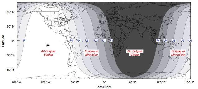 Peta Gerhana Bulan Total 15 April 2014. Kredit: Fred Espenak / NASA