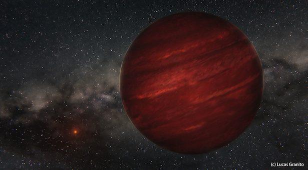 Ilustrasi GU Psc dan planet GU Psc b di kejauhan. Kredit:  Lucas Granito