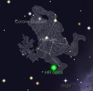 Bintang HD 162826 atau HR 6669 yang berada di Rasi Hercules tak jauh dari Vega di rasi Lyra. Kredit: StarWalk