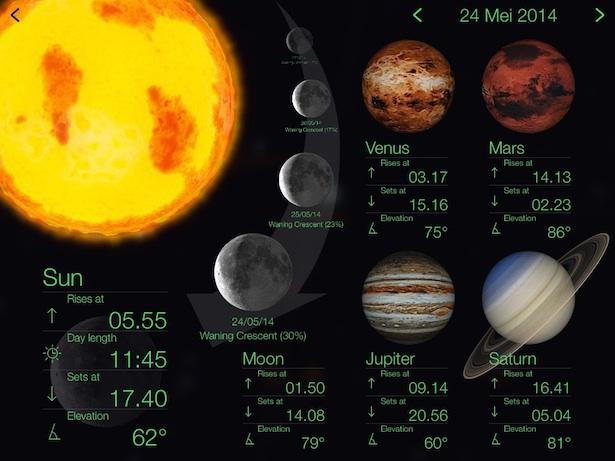 Jadwal terbit dan terbenam Matahari, Bulan dan planet-planet. Kredit: Star Walk