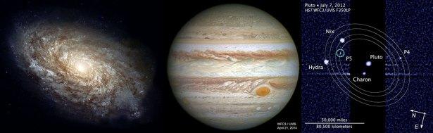 Galaksi NGC 4414, Jupiter dan Pluto yang dipotret oleh teleskop Hubble. Kredit: Teleskop Hubble / NASA/ESA