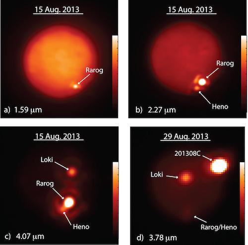 Peta lokasi terjadinya letusan gunung berapi di Io. Kredit: Imke de Pater & Katherine de Kleer, UC Berkeley