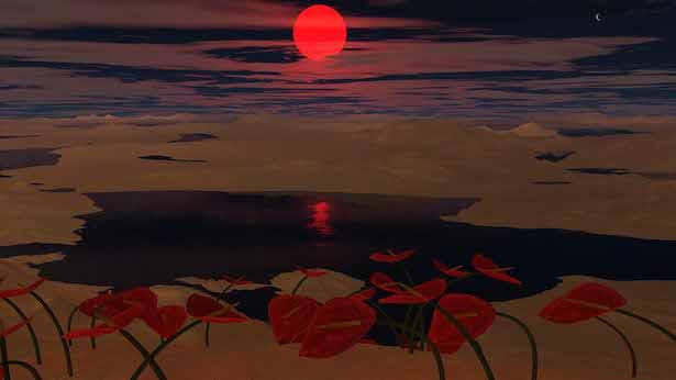 Ilustrasi kehidupan di planet tua di bintang katai merah. Kredit: Rory Barnes, Universitas Washington