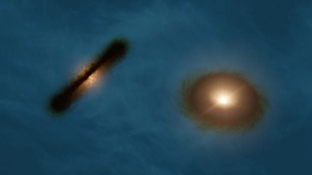 Ilustrasi piringan pembentuk planet di sistem kembar HK Tauri. Kredit: R. Hurt (NASA/JPL-Caltech/IPAC)