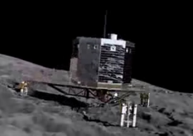 Gambar 3. Simulasi pendaratan Philae di permukaan inti komet Churyumov-Gerasimenko. Pendarat seberat 100 kg ini dilengkapi tiga jangkar di kakinya guna menjaga agar ia tak terpental kembali seiring sangat kecilnya gravitasi di lokasi pendaratannya. Dengan terungkapnya bentuk inti komet Churyumov-Gerasimenko, pendaratan Philae menjumpai tantangan baru. Sumber: ESA, 2014.