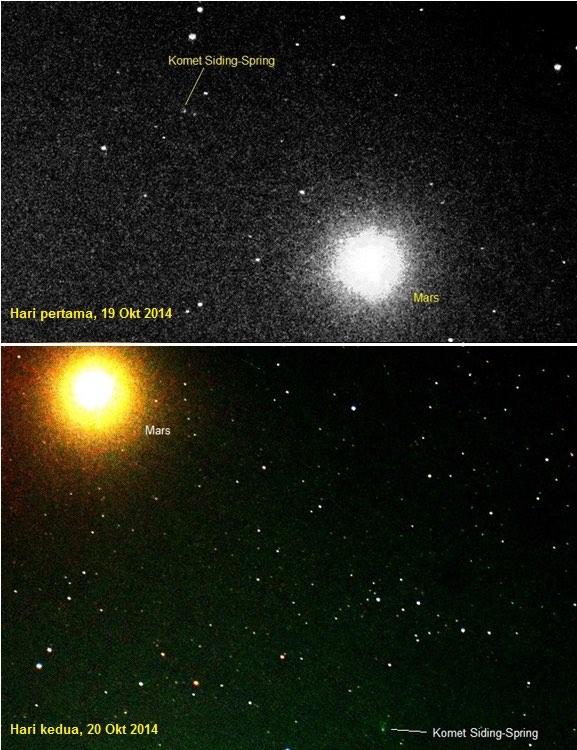 Gambar 1. Duet komet Siding-Spring dan planet Mars, diabadikan dari observatorium Imah Noong, Lembang, Kab. Bandung Barat (Jawa Barat) pada dua kesempatan berbeda menggunakan radas yang sama yakni teleskop refraktor Explore Scientific Triplet Apo 80 mm (f-ratio 6) dan kamera Nikon D5100 pada ISO 400. Inilah satu-satunya citra duet komet Siding-Spring dan planet Mars yang diabadikan dari Indonesia, di luar Observatorium Bosscha. Sumber: Imah Noong, 2014 diabadikan oleh Muflih Arisa Adnan & dilabeli oleh Muh. Ma'rufin Sudibyo.