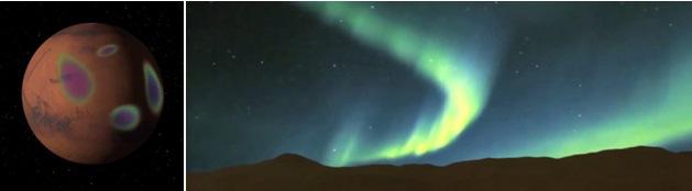Gambar 5. Gambaran artis aurora yang bakal terbentuk di Mars seiring mendekatnya komet Siding-Spring. Kiri; dilihat dari langit. Kanan: dilihat dari permukaan Mars. Sumber: NASA, 2014.
