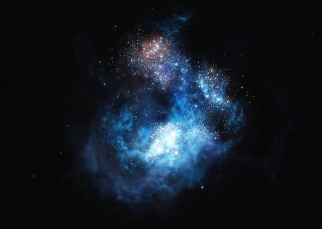 Gambar ini mengilustrasikan galaksi yang sangat spesial bernama CR7, salah satu galaksi pertama yang ada di alam semesta. Yang lebih menariknya lagi, galaksi ini mengandung bintang-bintang pertama di alam semesta! Bintang-bintang ini mengandung materi yang ada di alam semesta dini dan kini merupakan spesies langka! Kredit: ESO/M. Kornmesser.