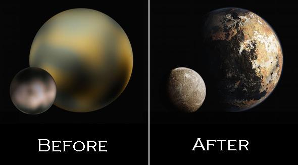 Kiri: Foto Pluto dan Charon. Kanan: Ilustrasi foto yang dapat dihasilkan saat New Horizons tiba di Pluto. Kredit: ASA/Johns Hopkins University Applied Physics Laboratory/Southwest Research Institute