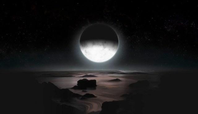 Ilustrasi malam di PLuto yang bermandikan cahaya redup Charon yang baru terbit di kutub selatan Pluto. Kredit: JHUAPL / SwRI