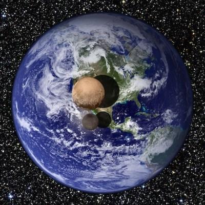 Perbandingan ukuran Bumi, Pluto dan Charon. Kredit: NASA/JHUAPL/SWRI