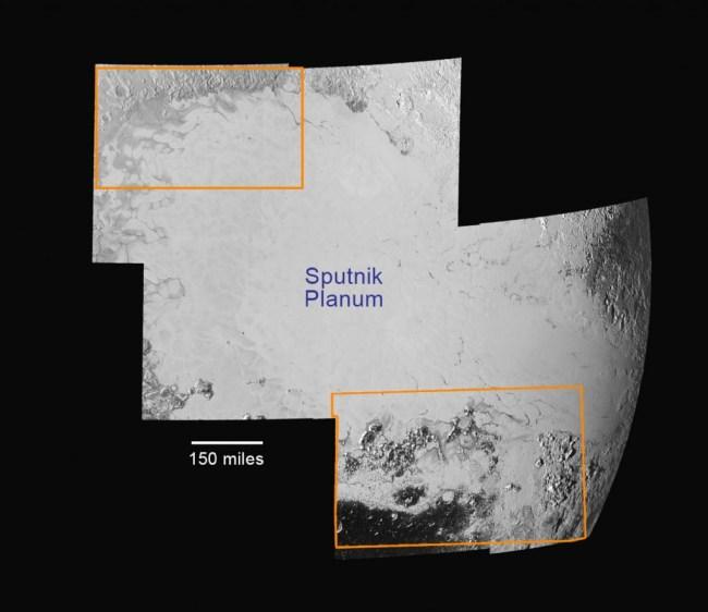 Bagian utara Sputnik Planum yang memperlihatkan aliran Gletser Nitrogen dan bagian selatan yang diisi pegunungan Norgay dan Hillary juga kawah yang diisi endapan es. Kredit: NASA/Johns Hopkins University Applied Physics Laboratory/Southwest Research Institute