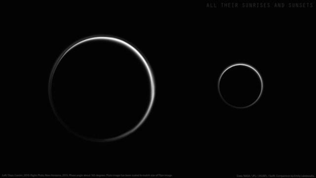 Foto Titan yang diambil Cassini tahun 2010 dan Pluto yang dipotret New Horizons. keduanya dipotret dari sudut yang hampir sama. Kredit: Cassini/New Horizons/NASA
