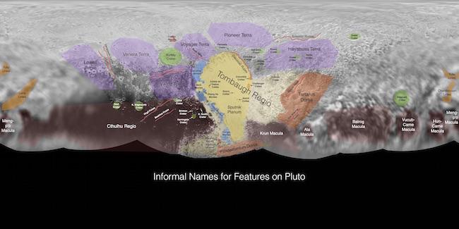 Peta Pluto yang dibuat dari hasil terbang lintas New Horizons. Kredit: JHUAPL / SwRI