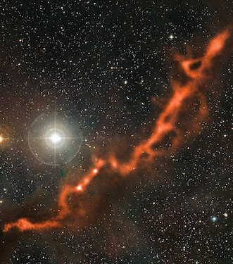 Sebagian Awan Molekular Taurus Molecular Cloud (TMC-1), palung kelahiran bintang. Kredit: ESO/APEX (MPIfR/ESO/OSO)/A. Hacar et al./Digitized Sky Survey 2. Acknowledgment: Davide De Martin.