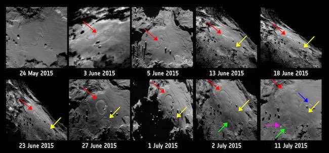 Pola yang terbentuk dan mengembang dalam waktu singkat jelang perihelion. Kredit: ESA/Rosetta/MPS for OSIRIS Team MPS/UPD/LAM/IAA/SSO/INTA/UPM/DASP/IDA