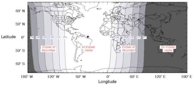 Gerhana Bulan Total 28 September 2015 hanya dapat dilihat dari Pasifik Timur, Eropa, Amerika, Asia Barat. Kredit: Fred Espenak / NASA