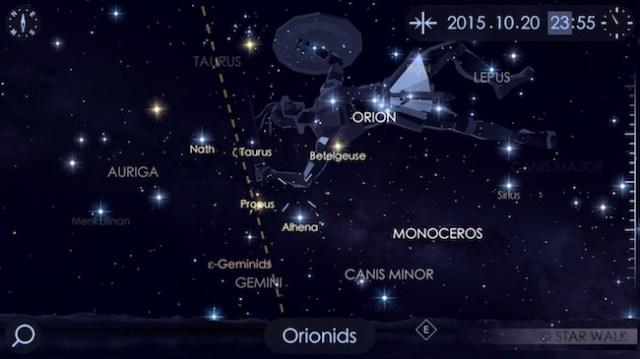 Hujan meteor Orionid. Kredit: StarWalk