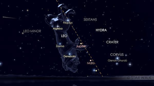 Hujan meteor Leonid yang muncul dari rasi Leo. Kredit: Star Walk
