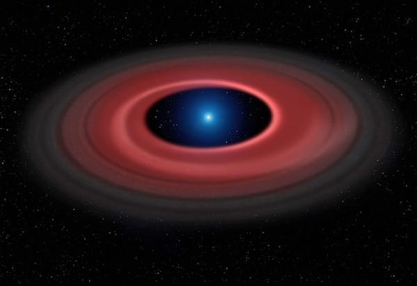 Piringan materi yang kita lihat mengelilingi bintang yang belum mati di pusat gambar tersusun dari sisa-sisa asteroid yang mengembara terlalu dekat lalu dimakan si bintang. Kredit: Mark Garlick (www.markgarlick.com) dan Universitas Warwick/ESO.