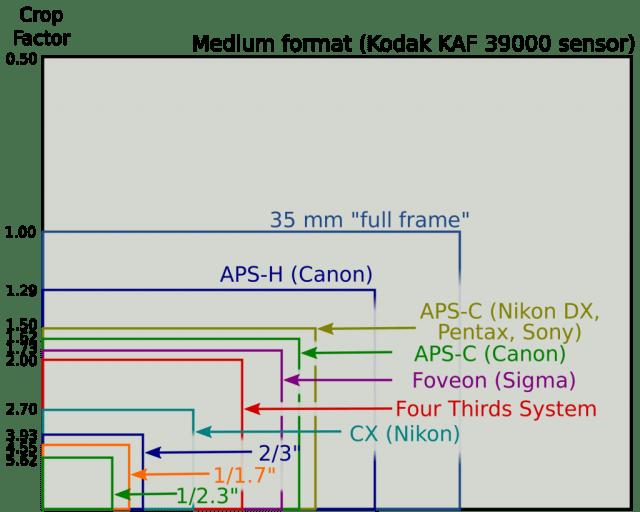 Rasio perbedaan ukuran sensor pada beberapa merek dan tipe kamera beserta nilai Crop Factor-nya. Sumber: www.techhive.com