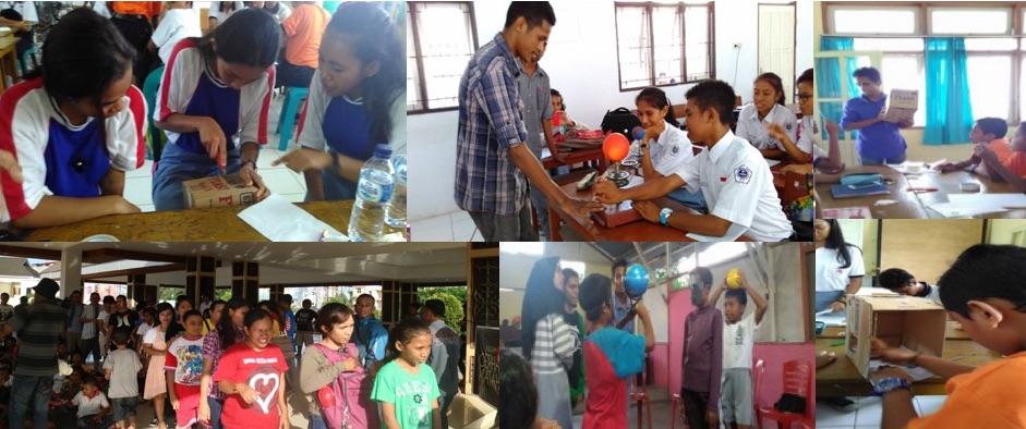 Kegiatan sosialisasi GMS 9 Maret 2016 untuk siswa SMP & SMA di kota Ambon, peserta kelompok belajar HEKALEKA, dan pengamatan GMS 9 Maret 2016. Kredit: AAC