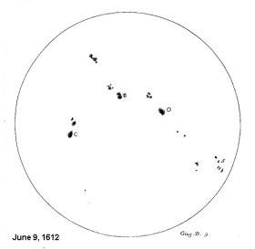 Sketsa Bintik Matahari yang dibuat Galileo tahun 1613.