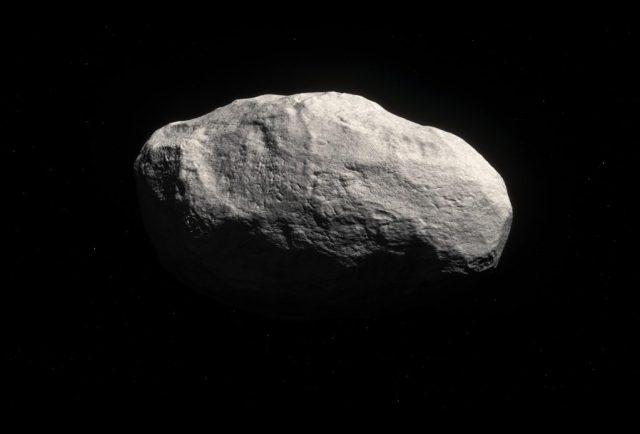 Ilustrasi yang memperlihatkan bagaimana wujud Komet Manx bila dilihat dari dekat. Meskipun disebut komet, diyakini bahwa komet Manx sebetulnya adalah asteroid: bongkahan batuan sisa-sisa dari kelahiran planet batuan di Tata Surya. Kredit: ESO/M. Kornmesser.