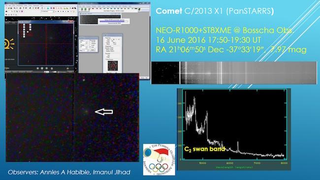 Hasil pengamatan Komet C/2013 X1 PanSTARRS oleh tim teknis TPOA. Kredit: TPOA
