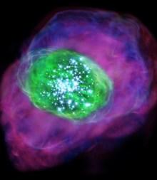 Ilustrasi galaksi SXDF-NB1006-2 yang baru berusia 700 juta tahun. Kredit: NAOJ