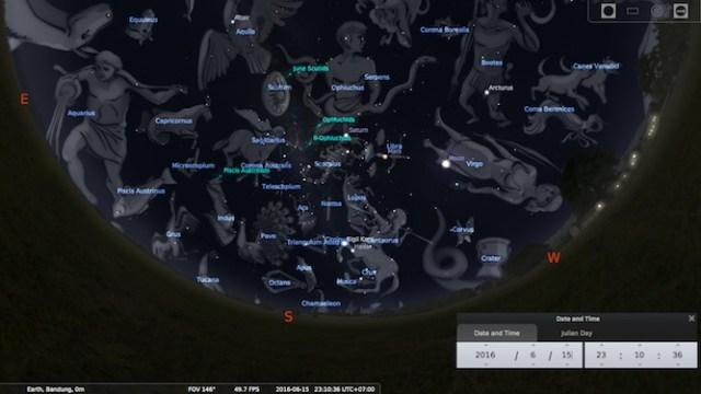 Rasi yang bisa dilihat dari tengah malam sampai jelang fajar di pertengahan bulan Juni. Kredit: Stellarium