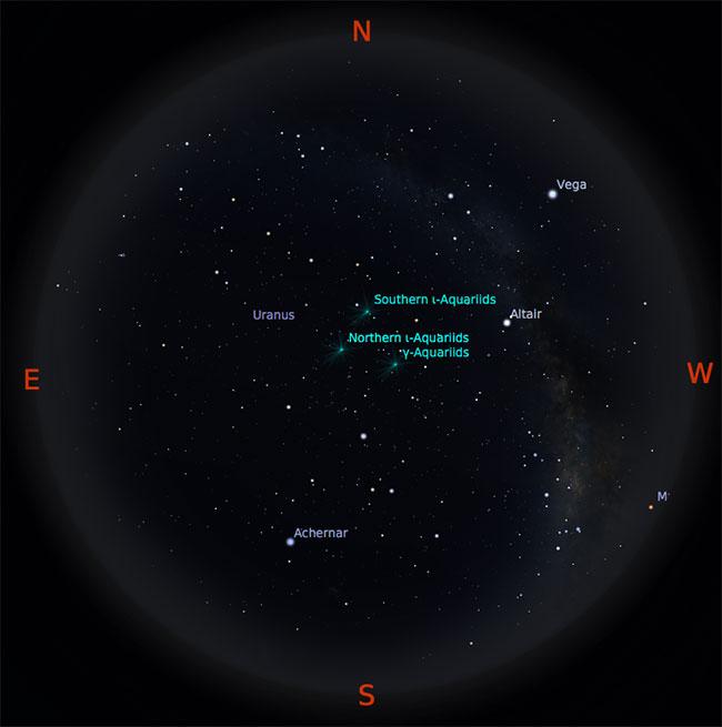 Peta langit tanggal 1 September 2016 pukul 23:59 WIB. Bima Sakti membentang dari timur laut ke barat daya. Kredit: Stellarium