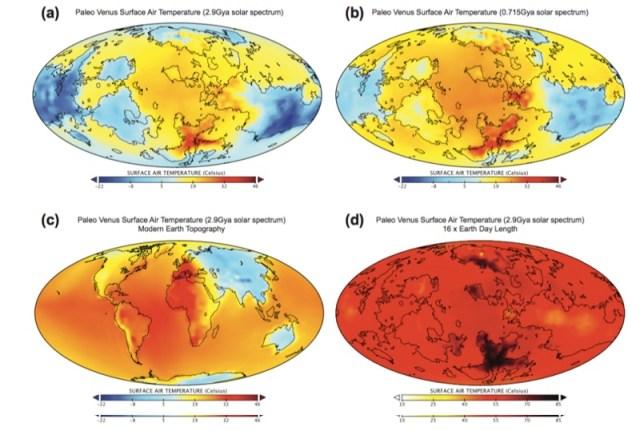 Hasil simulasi dengan parameter berbeda, memberikan rentang temperatur rata-rata antara 11º - 23º C. Kredit: Way et.al 2016